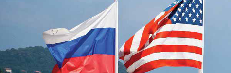 Amerika ve Rusya' Bayrakları