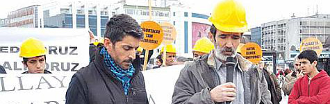 İnşaat işçileri direnişte