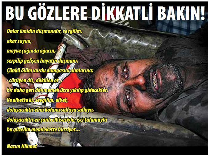 Soma Madenlerindeki iş cinayetlerinden sağ kurtulan bir madenci